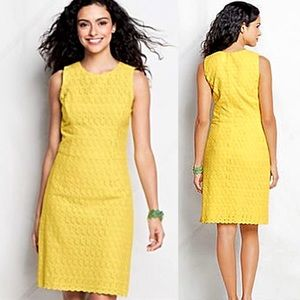 Lands' End Lemon Yellow Eyelet Shift Sheath Dress